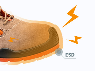 ESD feature of safety shoes